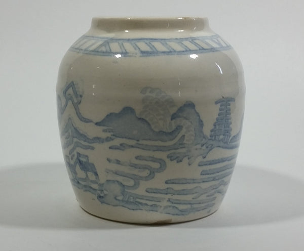 Vintage White and Blue Eastern Style Dragon, Water, Countryside Heavy Ginger Jar Vase