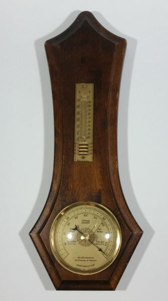 Vintage Baromaster Weather Station Barometer Thermometer Wooden Wall Hanging Made in France - Treasure Valley Antiques & Collectibles