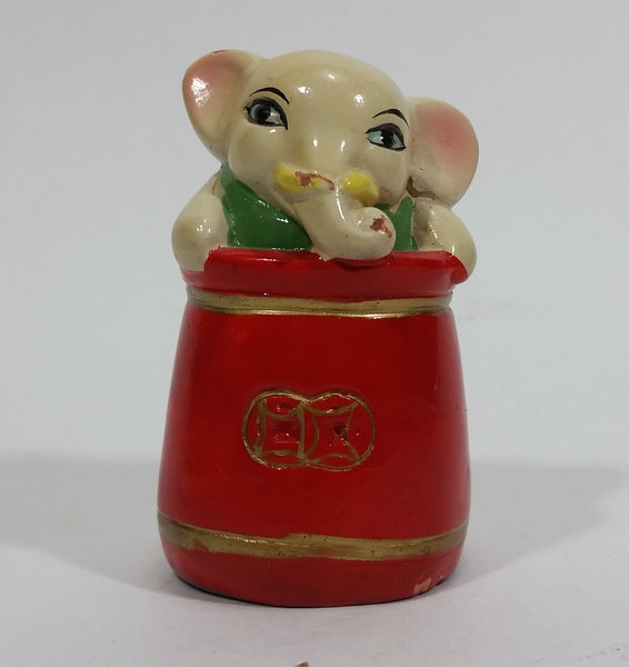 Vintage Cute Circus Elephant Ceramic Pencil Sharpener - Treasure Valley Antiques & Collectibles
