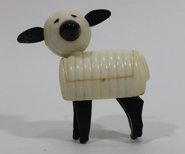 Vintage 1967 Fisher Price Little People White Black Sheep Lamb Toy Figure Hong Kong - Treasure Valley Antiques & Collectibles