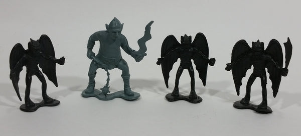 Vintage 1981 DFC Dragonriders of Styx Demons 3 Black 1 Blue Small Plastic Toy Figurines 4 Pieces