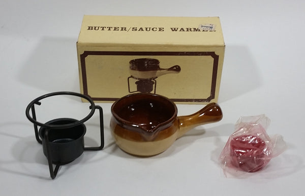 Vintage Woodward's Stoneware Crock Pot Butter Sauce Warmer with Original Box