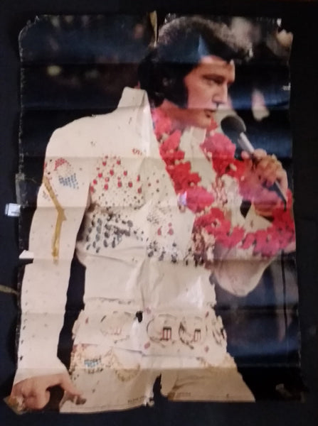Vintage 1975 1976 Elvis Presley Tour in Las Vegas White Jumpsuit Poster - Worn condition - Treasure Valley Antiques & Collectibles