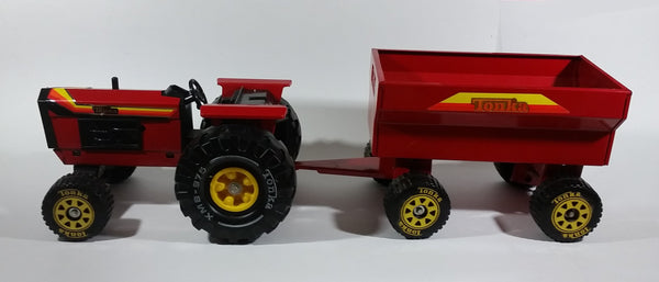 Vintage Tonka Tractor with Trailer XMB-975 Red Pressed Steel Toy Farming Machinery Vehicle Collectible - Treasure Valley Antiques & Collectibles