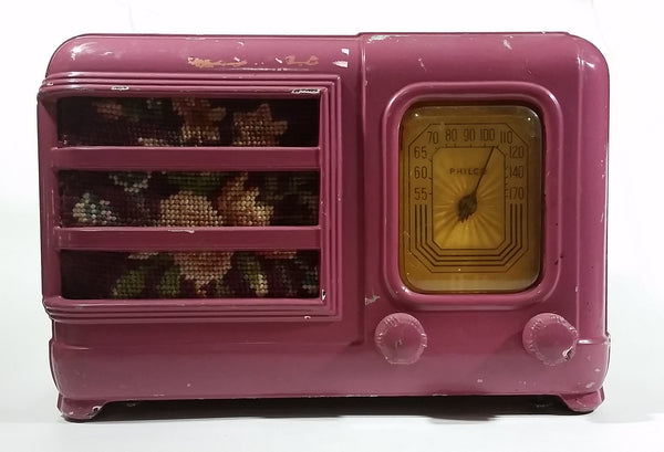 Vintage Antique 1939 Rare Model Philco 39-5A1 Tube Radio With Floral Tapestry Painted Pink Purple