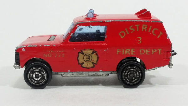 1980s Majorette Range Rover Fire Dept. District 3 Red No. 246 1/60 Scale Die Cast Toy Car Emergency Vehicle w/ Hitch