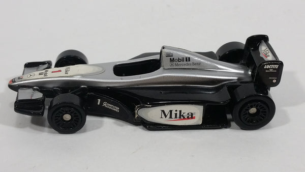 2000 Hot Wheels McLaren Grand Prix Car Current Silver Black Mobil 1 Mika Die Cast Toy Car - McDonald's Happy Meal 11/20 - Treasure Valley Antiques & Collectibles