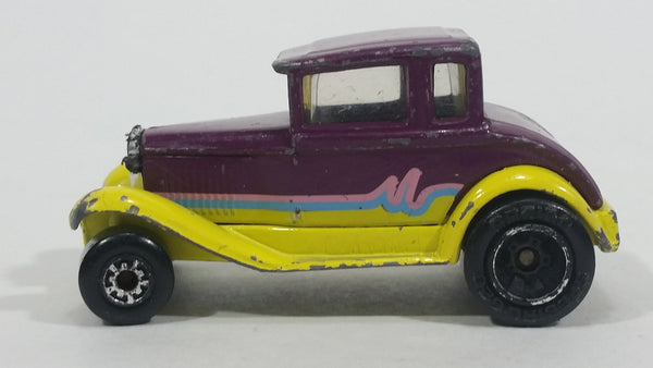 1991 Matchbox Model A Ford Burgundy Plum and Yellow MB55 Die Cast Toy Antique Classic Car Vehicle - USA only