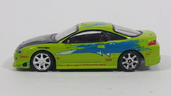 2002 Racing Champions Fast & Furious Paul Walker's Lime Green 1995 Mitsubishi Eclipse GSX Turbo Toy Import Race Car Vehicle - Missing the Spoiler