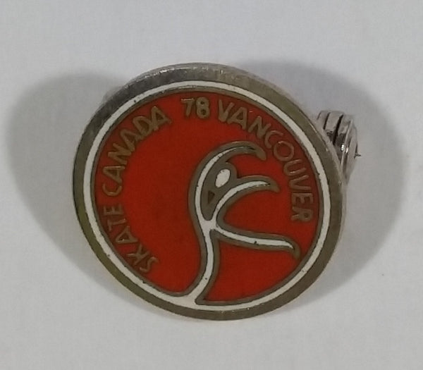 Vintage Skate Canada 1978 Vancouver Ice Figure Skating Small Little Round Collectible Enamel Pin - Treasure Valley Antiques & Collectibles