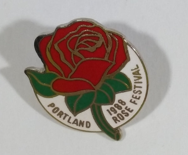1988 Portland Rose Festival Red Rose Enamel Lapel Pin Collectible - Treasure Valley Antiques & Collectibles