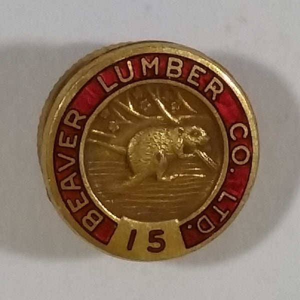 Beaver Lumber Co. Ltd. 15 Red and Golden Small Tiny Round Metal Pin - Treasure Valley Antiques & Collectibles