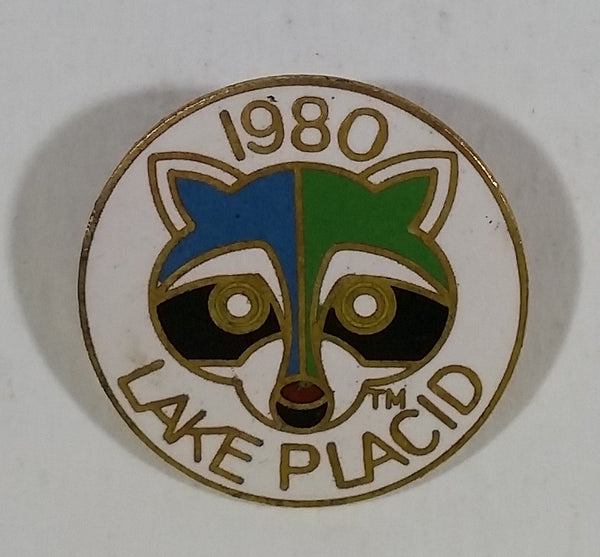 Vintage 1980 Lake Placid Winter Olympic Games Roni The Raccoon Mascot Round Enamel Pin Sports Collectible - Treasure Valley Antiques & Collectibles