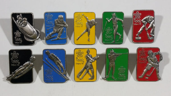 1988 Calgary Winter Olympics Colored Enamel Sports Collectible Pins Full Set of 10 - Treasure Valley Antiques & Collectibles