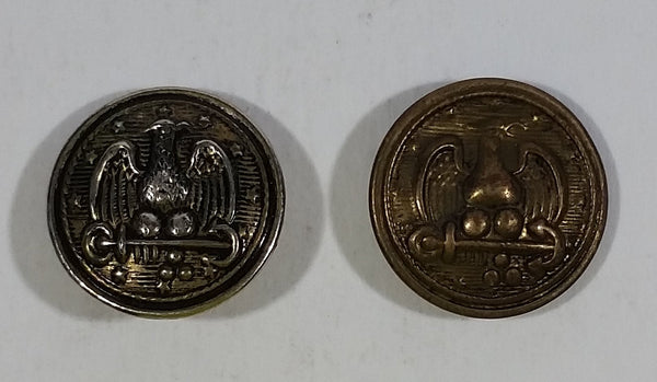 Vintage Antique WWII Era Navy Eagle on Anchor Army Military Metal Buttons Lot of 2