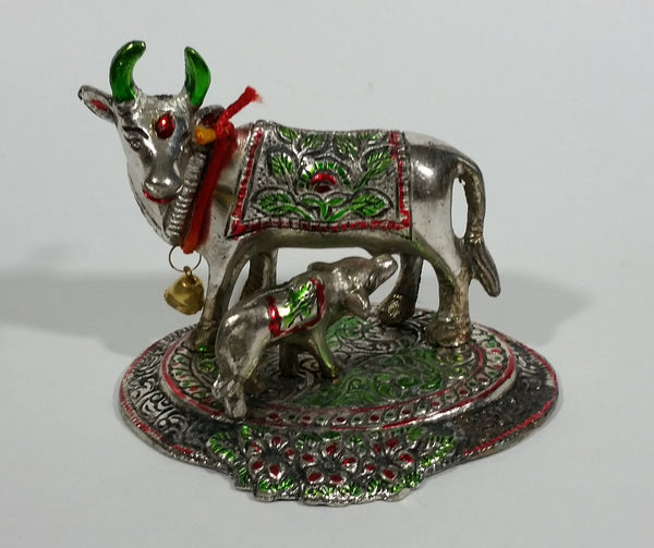 Vintage Oxidized Painted Metal India Sacred Cow with Calf Feeding Metal Decorative Figurine - Treasure Valley Antiques & Collectibles