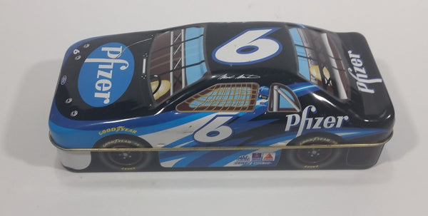 2001 Palmers Double Crisp Mark Martin #6 Ford Nascar Race Car Shaped Tin Collectible #60037 - Empty - Treasure Valley Antiques & Collectibles