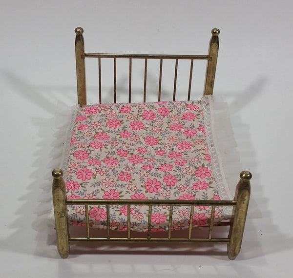 Vintage Brass Metal Doll House Bed Miniature With Thin Pink and White Mattress - Made in Taiwan - Treasure Valley Antiques & Collectibles