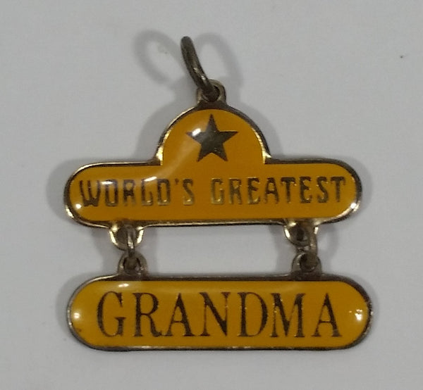 Western Style World's Greatest Grandma Yellow Enamel Key Chain Pendant Charm - Treasure Valley Antiques & Collectibles