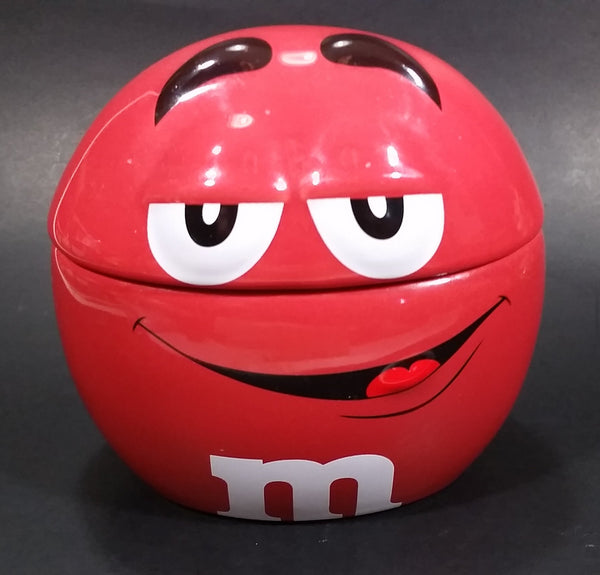 2009 Mars M & M Chocolates The Red One Ceramic Round Lidded Candy Dish Collectible