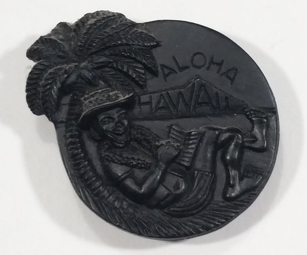 Vintage 1970s Coco Joes Aloha Hawaii Palm Tree Beach Lounging Black Plastic Fridge Magnet - Treasure Valley Antiques & Collectibles
