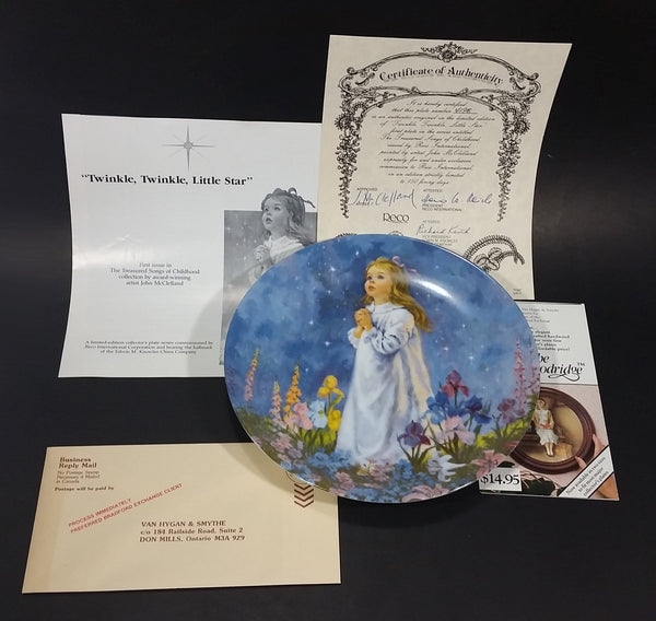 "1988 Reco The Treasured Songs of Childhood ""Twinkle Twinkle Little Star"" Decorative Collector Plate with Certificate - Treasure Valley Antiques & Collectibles"