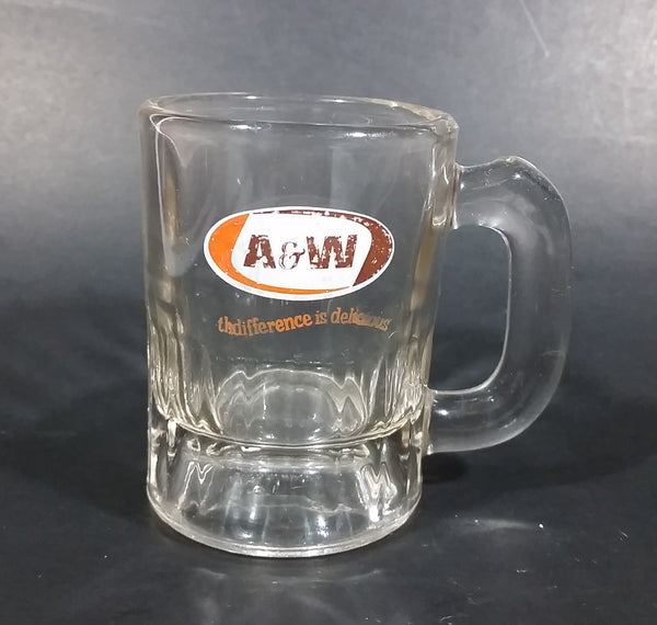 "Vintage A & W ""the difference is delicious"" Clear Glass 3 1/4"" Miniature Root Beer Mug"