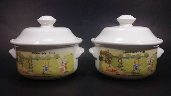 1996 Westwood Campbell's Kid's Ceramic Soup Bowls With Lids and Handles Set of 2