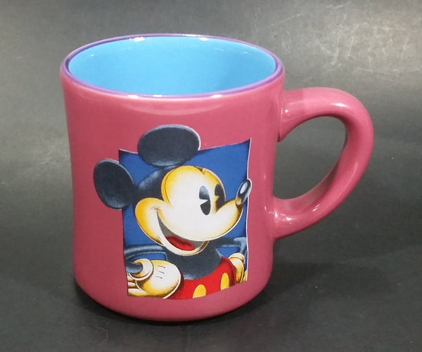 Disney's Mickey Mouse Cartoon Character Pink Fuchsia with Blue Inside Ceramic Coffee Mug