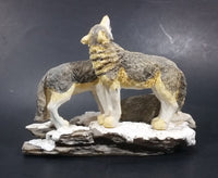 Wolf Pack of 3 Wolves on Snow Covered Rocks Decorative Resin Sculpture Figurine Made in China - Treasure Valley Antiques & Collectibles