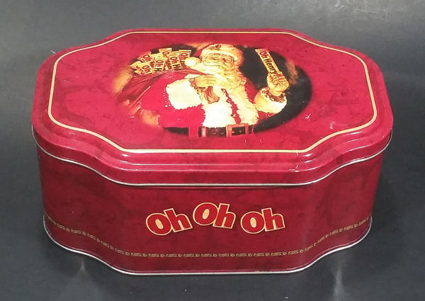 Very Rare Oh Henry! OH OH OH Santa Claus Christmas Holiday Red Tin Container Collectible