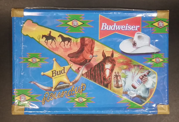 "Budweiser Bud King of Beers Cowboy Horses Bottle Rodeo Themed 11 3/4"" x 8"" Tin Metal Sign Man Cave Bar Collectible Still Sealed - Treasure Valley Antiques & Collectibles"