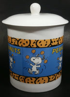 Vintage United Features Syndicate Peanuts Snoopy Cartoon Character White Ceramic Lidded Cookie Jar Collectible - Treasure Valley Antiques & Collectibles