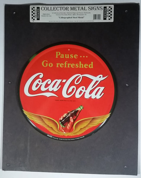 "2002 Coca-Cola Coke Soda Pop Beverage Pause... Go Refreshed Round 12"" Lithographed Steel Metal Collector Sign"