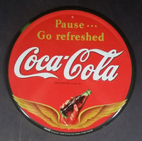 "2002 Coca-Cola Coke Soda Pop Beverage Pause... Go Refreshed Round 12"" Lithographed Steel Metal Collector Sign - Treasure Valley Antiques & Collectibles"