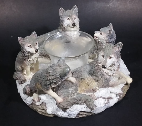 Wolf Pack Wolves Family with Pups Round Center Based Resin Decorative Candle Holder Wildlife Collectible