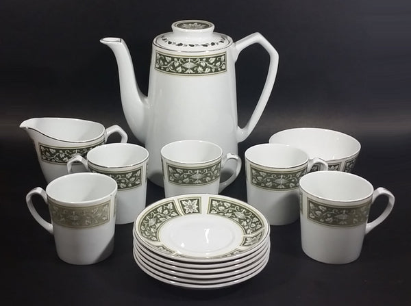 1940s Alfred Meakin Glo-White Ironstone Olive Green Pattern with Gold Trim Tea Set 14 Piece - Treasure Valley Antiques & Collectibles
