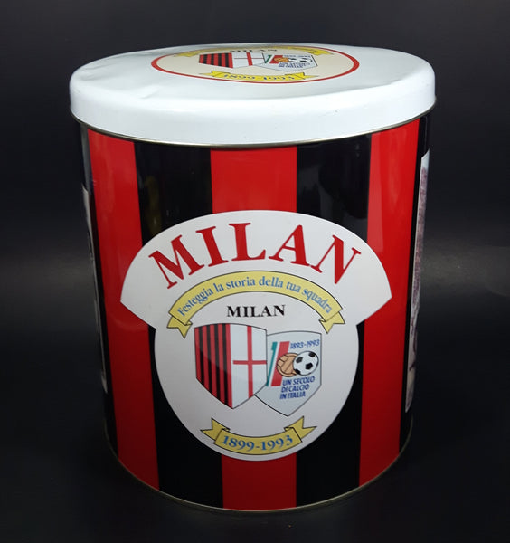 "Rare 1899-1993 A.C. Milan Football Club Soccer Team Large 10"" Tall Metal Canister Sports Collectible"