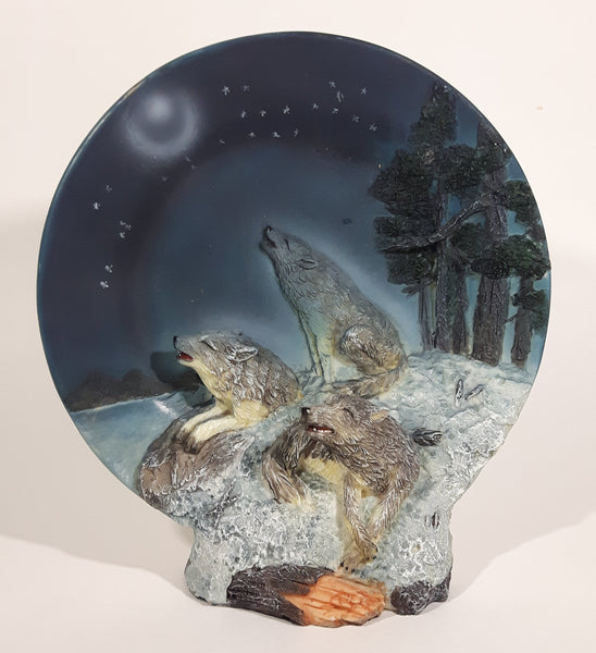 Decorative 3D Wolf Pack of Wolves Howling at the Moon At Night Decorative Resin Plate