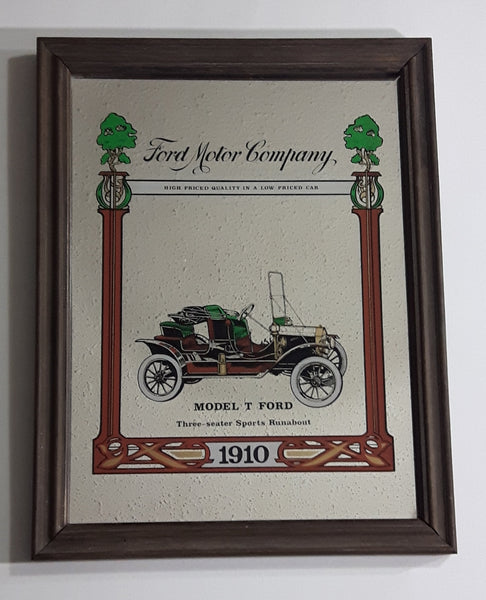 Antique Ford Motor Company 1910 Model T Ford Three-seater Sports Runabout Wooden Framed Advertising Mirror - Treasure Valley Antiques & Collectibles