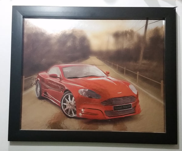Rare Red Exotic Car Aston Martin Digital Illustration Painting Print On Reflective Surface By D. Mantegh (Davood Mantegh)
