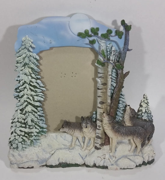 Beautifully Detailed 3D Wolves Wolf Pack Family 3D Resin Fold Out Stand Photo Picture Frame - Treasure Valley Antiques & Collectibles