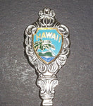 Vintage Hawaii Palm Tree Scene Collectible Floral Shell Spoon