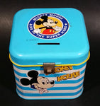 "Rare Vintage 1970s Melody Disney Mickey Mouse ""He Is The Super Hero"" Blue and White Tin Metal Coin Bank"
