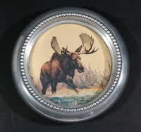 1950s Lulu Island Motors Standard Oil Chevron Dealer Gas Station Moose Painting Metal Coaster Ash Tray Promotional Gift - Treasure Valley Antiques & Collectibles