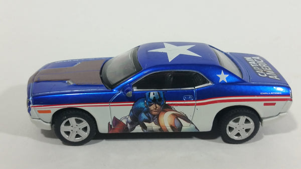 HTF 2010 Maisto Marvel Universe Power Racers Captain America Dodge Challenger Concept Pullback Friction Motorized Die Cast Toy Car Vehicle