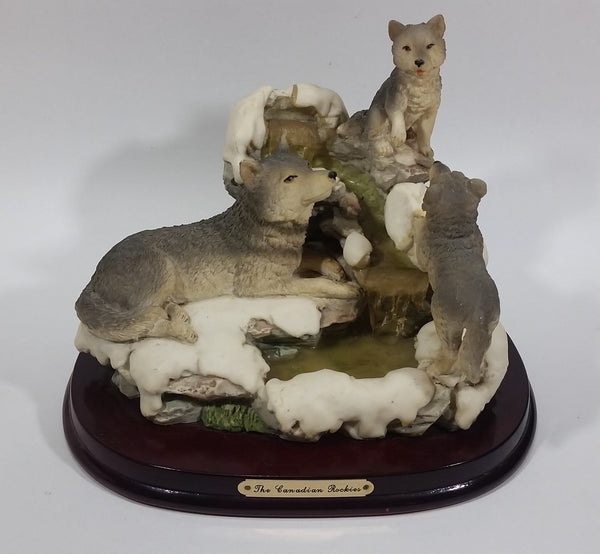 1987 Crosa The Canadian Rockies Wolf Pups Wolves Sitting and Playing Near Frozen Water Falls on Snow Covered Rocks Resin Sculpture Wildlife Collectible - Treasure Valley Antiques & Collectibles