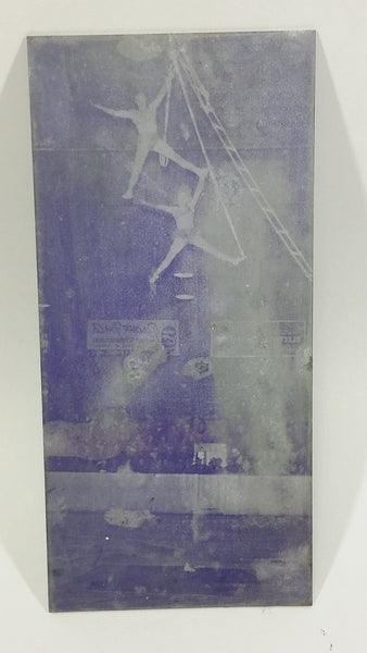 Vintage Photographic Glass Plate Negative of Circus Performers on Rope Ladders with Audience in The Background - Treasure Valley Antiques & Collectibles
