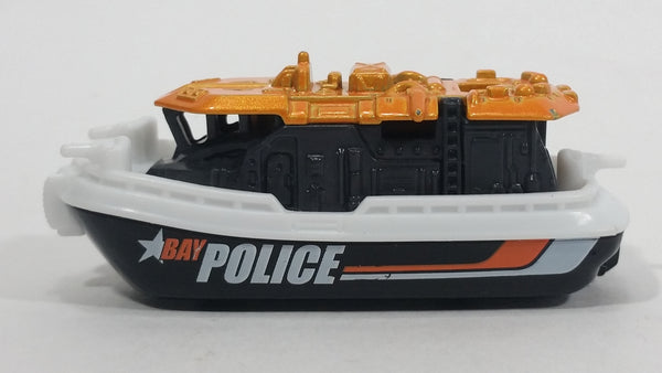 2016 Matchbox MBX Heroic Rescue Bay Brigade Black, White, Orange Boat Die Cast Toy Watercraft Police Vehicle
