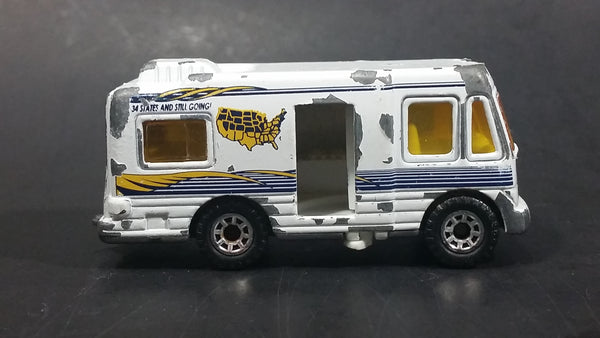 1999 Matchbox Wilderness Adventure Series 12 Truck Camper White Die Cast Toy Car Recreational Vehicle RV with Opening Side Door - Treasure Valley Antiques & Collectibles